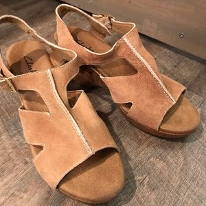 Tan suede Clark's with cork wedge heel